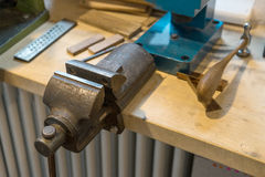 Workbench. Of a ringmaker with vice and tools Royalty Free Stock Images