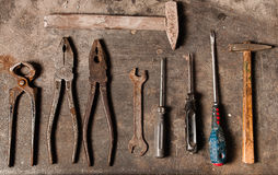 Workbench with rusty tools Stock Image