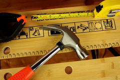 Workbench with tools Stock Photo