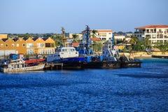 Workboats on Bonaire Coast royalty free stock photo