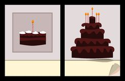 Workbook cover template with small and big birthday cake Stock Image