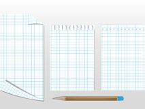 Workbook papers with pencil Stock Photo