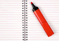 Workbook with red felt-tip Stock Photography