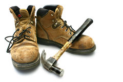 Workboots and Hammer Stock Photos