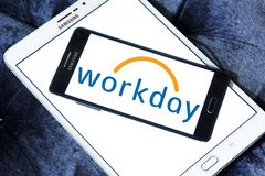 Workday company logo. Logo of Workday company on samsung mobile. Workday, Inc. is an on‑demand cloud-based financial management and human capital management Royalty Free Stock Photos