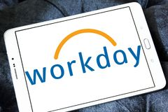 Workday company logo. Logo of Workday company on samsung tablet . Workday, Inc. is an on‑demand cloud-based financial management and human capital management Royalty Free Stock Photography