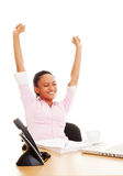 Workday finished. Happy woman finished her work Royalty Free Stock Photography