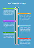 Workday from 9 to 18. Workday. Business timeline infographic template. Vector illustration. Can be used for workflow layout, banner, diagram, number options, web Royalty Free Stock Images
