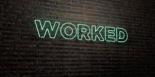WORKED -Realistic Neon Sign on Brick Wall background - 3D rendered royalty free stock image Stock Photos