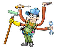Worker 01. Cartoon style worker ready for hard work Stock Photo