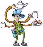 Worker 03. Cartoon style worker ready for hard work Royalty Free Stock Photography