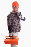 Worker. A construction worker signing with happy expression Stock Photo