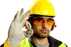 Worker. With protective gear with thumbs up Royalty Free Stock Photo