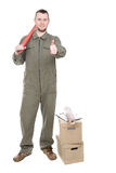 Worker. Young adult worker over white background Royalty Free Stock Image