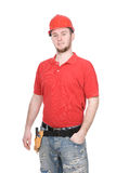 Worker. Young adult worker over white background Royalty Free Stock Photo