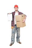 Worker. Young adult worker over white background Royalty Free Stock Images