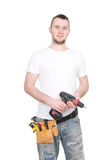 Worker. Young adult worker over white background Stock Image