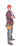 Worker. Young adult worker over white background Stock Photo