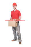 Worker. Young adult worker over white background Stock Photography