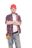 Worker. Young adult worker over white background stock images