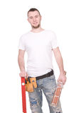Worker. Young adult worker over white background stock photos