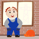 The Worker. In overalls on building royalty free illustration