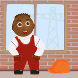 The Worker. In working clothes, on building vector illustration