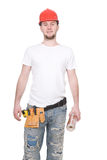 Worker. Young adult worker isolated on white background Stock Image