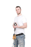 Worker. Young adult worker isolated on white background Royalty Free Stock Image