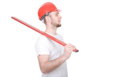 Worker. Young adult worker isolated on white background stock photo