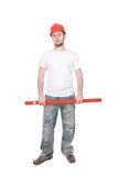 Worker. Young adult worker isolated on white background stock images