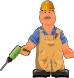 Worker. Illustration, cheerful worker in overalls with a drill Stock Photography