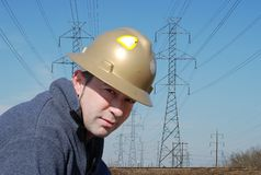 Worker. Male worker with safety helmet Stock Images