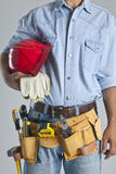 Worker. A construction worker with a tool belt Royalty Free Stock Photography