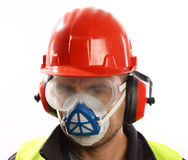Worker. With red helmet and mask over white Stock Photos