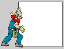 A worker. Placing a poster vector illustration