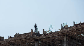 Worker. S are building on the rooftop Royalty Free Stock Photos