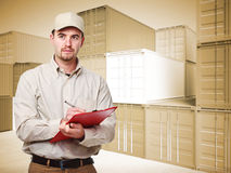 Worker and 3d container background Stock Photo