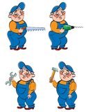 Worker. Four types of worker with different tools Stock Images