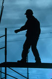 Worker. A worker on a scaffold Royalty Free Stock Photos