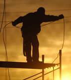 Worker. A worker with a cable Stock Photo