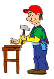 Worker. With a hammer vector illustration