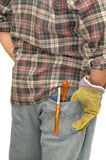 Worker. 's back pocket with pliers isolated in white Stock Photo