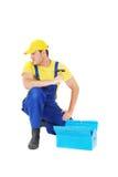 Worker. Repair the broken house Royalty Free Stock Photos