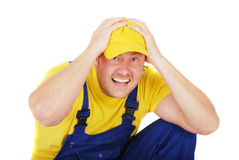 Worker. Repair man is in the end Stock Photo