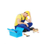 Worker. Repair play chess game Royalty Free Stock Images