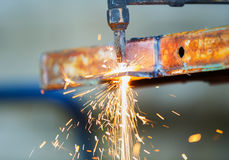 Worker adjust acetylene torch Royalty Free Stock Photography
