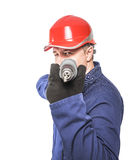 Worker aims drill Stock Photo