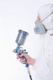 Worker with airbrush gun Stock Image