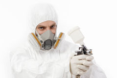 Worker with airbrush gun Royalty Free Stock Photography